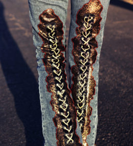 NEW Custom Rock Pants - Leopard Leather Lace-Up Back Jeans Heavy Metal Rock N Roll Pants Jeans Denim Punk Boot-Cut