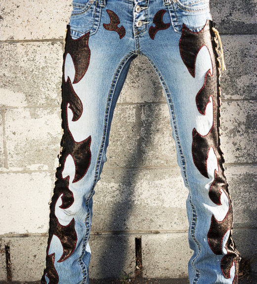 Front-Axe-Lace-Red-Stitch-Leopard-Custom-Jeans-Pants