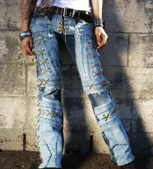 2dea6c11ab045 NEW Custom Rock Pants – Blue Jeans Light Acid Western Cool Pockets LaceUp  Rocker Heavy Metal