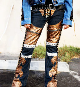 MADE TO ORDER - NEW Custom Rock Pants - Blue Jeans Gold Shiny Faux Leather Lace-Up Sides & Crotch Pants Jeans Denim Punk Studded