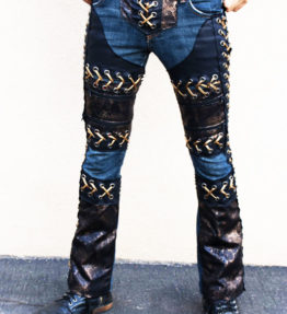 MADE TO ORDER - NEW Custom Rock Pants - Dark Blue Jeans Black Faux Leather Gold Lace-Up Sides & Crotch Shiny Red Snakeskin Pants Jeans Denim Punk Studded