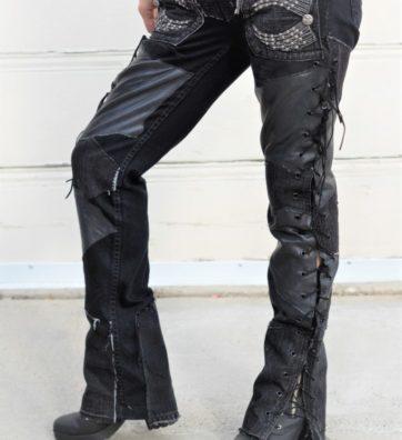 "Black on Black denim Open Sides Lace-up With Wings Pockets ""Black on Black"""