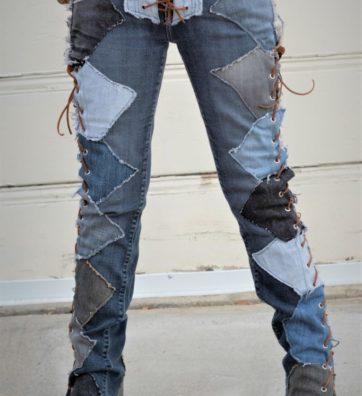 "Vintage Blue Jeans with Multi Denim and Open Sides Lace ups "" Multi color sensations"""
