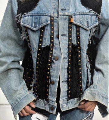 VintageBlue Levi's Denim Jacket with Sides Lace-Up and Studs
