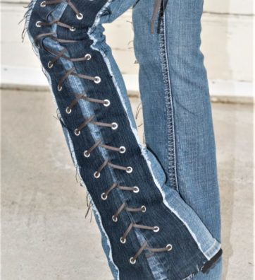 """Denim on Denim Lace Up Sides And Crotch """"TOXIC BLUE"""""""