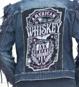 "Fringed Sleeves Lace-Up Denim Jacket ""Whiskey"""