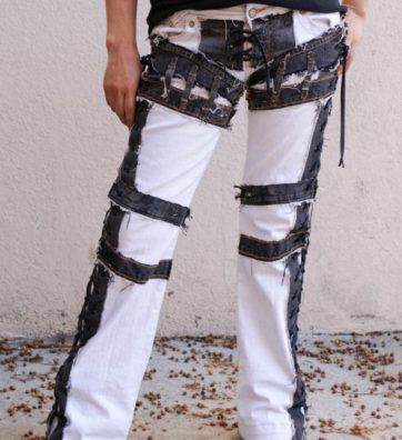 """Denim On Denim Chopper Style """"SKELTON"""" Dark Gray Denim On A White Jeans Lace Up Sides And Crotch"""
