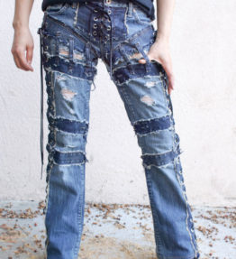 "Denim on Denim Chopper Style "" SKY FALL"" Dameged Vintage Blue jeans chopper style"