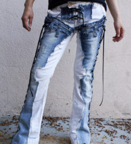 "Denim on Denim Chopper style ""Toxic Blue"" Light Blue Denim on White Jeans with Lace Up Sides and Crotch"