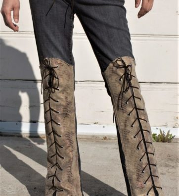 Vintage Gray Jeans With Knee high Faux Golden Snake Skin With Lace Ups Front And Back