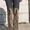 """DSC04442.jpg #2 Vintage Gray Jeans With Knee high faux Golden Snake skin Lace ups front and back """"Gold Snake"""""""
