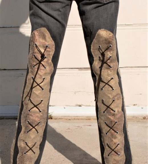 """DSC04448.jpg #2Vintage Gray Jeans With Knee high faux Golden Snake skin Lace ups front and back """"Gold Snake"""""""