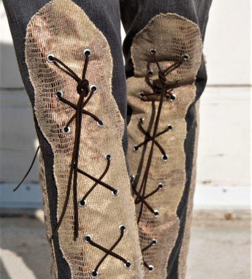 """DSC04450.jpg #2 Vintage Gray Jeans With Knee high faux Golden Snake skin Lace ups front and back """"Gold Snake"""""""