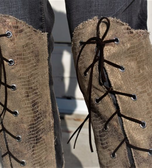 """DSC04455.jpg #2 Vintage Gray Jeans With Knee high faux Golden Snake skin Lace ups front and back """"Gold Snake"""""""