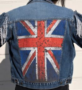 Vintage Blue Denim Jacket With Arm Fringed Lace ups With UK Flag On Back