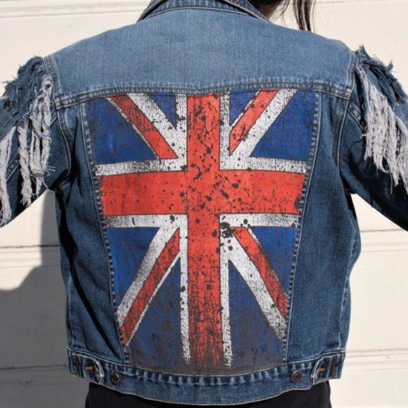Vintage Blue Denim Jacket With Arm Fringed Lace ups With UK Flag On Back