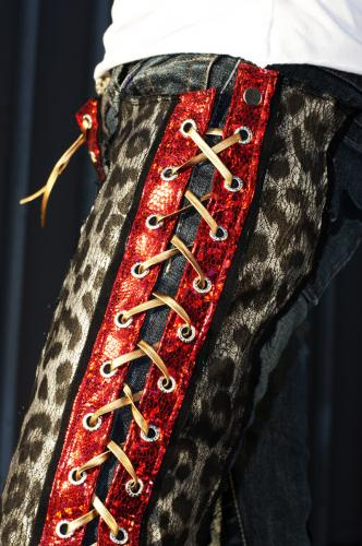 Shiney Red Leopard Custom Jeans with Lace